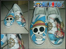 One Piece - Painted Custom Shoes by Simone93