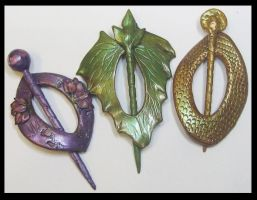 Polymer Clay Shawl Pins by KabiDesigns