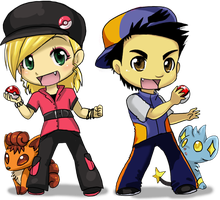 Trainer Ash and Rin by VengefulSpirits
