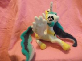 Princess Celestia Needle Felted Plush Commission by imaginaryfriends2012