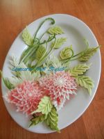 Watermelon Flowers Centerpiece by Chuncarv