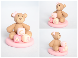 Teddy Bear with ABC Blocks in Pastel Pink by TheLinnypig