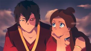 Zuko and Katara Campfire by moxie2D
