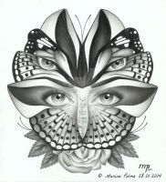 Drawing - 'A butterfly's eyes'. by MarinaPalme