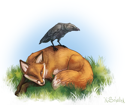 Fox and Raven by Pechschwinge