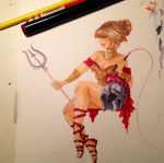 Gladiatrix Commission WIP by TracyLeeQuinn