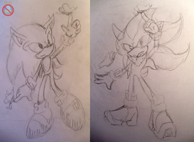 Sonic and Shadow butterflies sketch by shadowhatesomochao