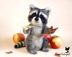 small raccoon Kuzya by KittenBlackUA