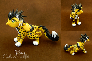 Haru - leopard griffin - polymer clay by CalicoGriffin
