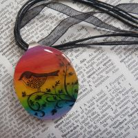 Rainbow bird resin necklace by JacDesigns