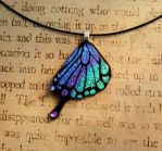 Swallowtail Butterfly Wing Purple Teal Mix Glass by FusedElegance