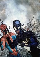 Spider-man vs Venom by nikoskap