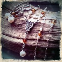 Steampunk Czech Glass and Pearl Set by QuintessentialArts