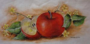 Apples - Textile Painting by Ellvanui
