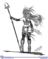 Female Warrior - Back View by Elinewton