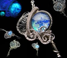 Wire Wrapped Ice Key - Glow in the dark by LadyPirotessa