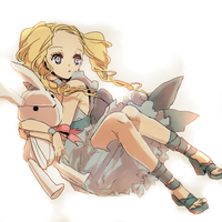 girl with rabbit doll by kissai