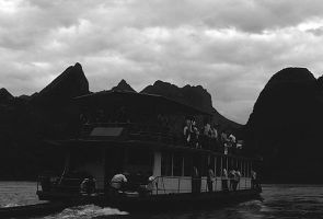 China Guilin river boat 1970s by BlackWhitePictures
