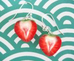 Sliced Strawberry Earrings by KawaiiCulture