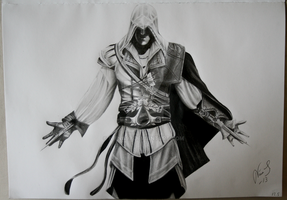Drawing of Ezio Auditore by Niiina97