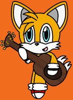 Chibi Tails playing the guitar by Sweetgirl333