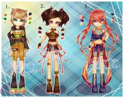 Naruto Girls Set 2- CLOSED by Angelique-Adopts