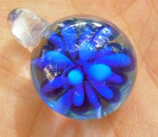 Bubble blob cobalt implosion pendant by fairyfrog