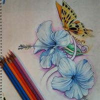 Hibiscus Butterfly by MidknightAlpha