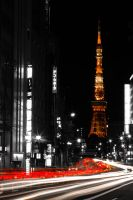 Tokyo Tower by Night from Roppongi by red-trela