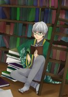 Hmm, what to read, what to read? by SuiKitsune
