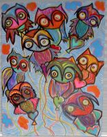 Bunch of Owls by margypargie