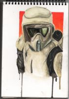 Scout Trooper water colour by AdamBrownART