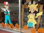 Halloween Thrift Mural Middle Window by pikabellechu