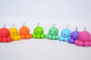 Handmade Rainbow Octopus Charms by Linnypig