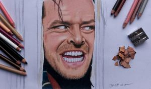Jack Nicholson - colored pencil drawing by JasminaSusak