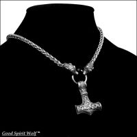 Large Mjolnir on Viking Design Chain Necklace by GoodSpiritWolf