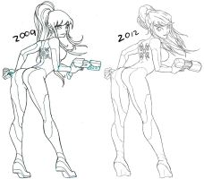 ZERO SUIT SAMUS before/after by OSCARINXART
