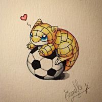 Sandshrew on a Soccer Ball by Airynelle