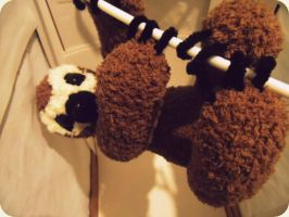 Three-toesd Sloth on a hanger...WIP by YarnHoardingDragon