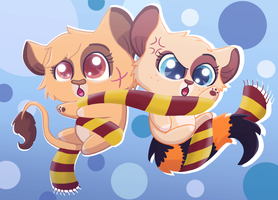 Taya and Lucy tangled in a scarf by TSupirka