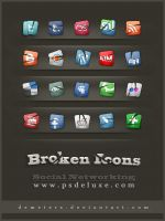 Social Networking-Broken Icons by demeters