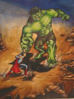 Superman vs Incredible Hulk by starvingzombie