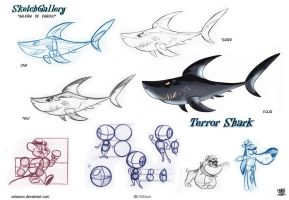 Terror shark cartoon by celaoxxx