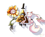 Bill Cipher,Flowey and Kyubey by Myssi98765
