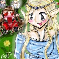 Celebrian and chibi Elrond by takarajewels