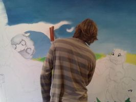 Baby room wall mural start by JustinMain