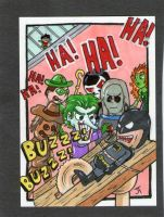 Batman vs His Baddies sketch card by johnnyism