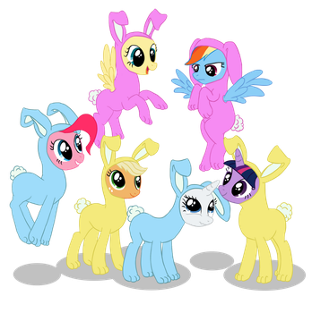 Mane 6 Bunnies by from-yesterday-xx