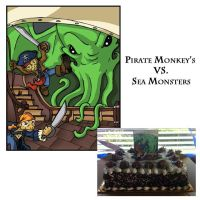 Monkey Pirates VS Sea Monster by Poeso