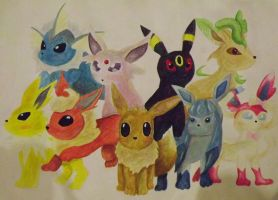 Eevee and the gang - Aquarelle by sudro